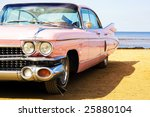 classic pink car at beach | Shutterstock . vector #25880104