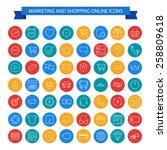 marketing and shopping online... | Shutterstock .eps vector #258809618