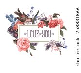 vintage watercolor greeting... | Shutterstock .eps vector #258831866