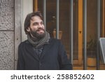 young handsome bearded man with ... | Shutterstock . vector #258852602