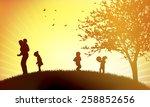 happy children outdoors | Shutterstock .eps vector #258852656