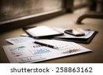 business documents with charts... | Shutterstock . vector #258863162