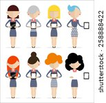 group of women standing with... | Shutterstock .eps vector #258888422