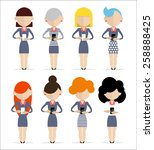 group of women standing with... | Shutterstock .eps vector #258888425