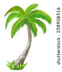 watercolor green coconut palm... | Shutterstock .eps vector #258908516
