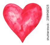 Watercolor Red Heart Icon With...