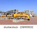 oil field scene  oil pipelines... | Shutterstock . vector #258909032