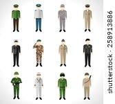 military soldier in uniform... | Shutterstock .eps vector #258913886