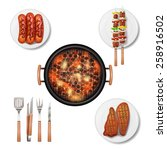 bbq grill decorative icons set... | Shutterstock .eps vector #258916502