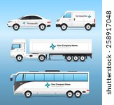 Stock vector transport advertisement set with car van truck and tourist bus with advertising signs isolated 258917048