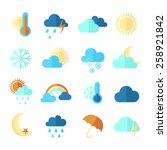 set of weather icons. flat... | Shutterstock .eps vector #258921842
