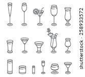 Alcohol Glasses. Icon Set. ...