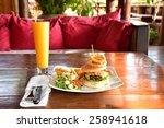 hamburger with salad.   Shutterstock . vector #258941618