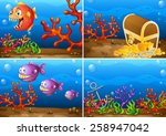 four scenes of underwater lives | Shutterstock .eps vector #258947042