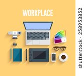 workplace. flat design | Shutterstock .eps vector #258953852