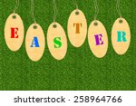 set of tags for easter eggs... | Shutterstock . vector #258964766