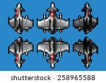 pixel art space ship animation... | Shutterstock .eps vector #258965588
