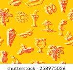 summer pattern  summer doodle... | Shutterstock .eps vector #258975026