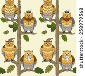 seamless pattern with owls  oak ... | Shutterstock .eps vector #258979568