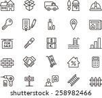 real estate icon set | Shutterstock .eps vector #258982466