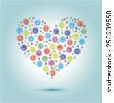 illustration of heart made of... | Shutterstock .eps vector #258989558