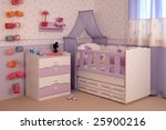 purple baby room with decoration