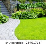 Garden Stone Path With Grass...