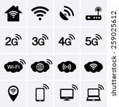 wireless and wifi icons. 2g  3g ... | Shutterstock .eps vector #259025612