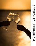 raising a glass in the sunset | Shutterstock . vector #259026278