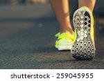 runner woman feet running on... | Shutterstock . vector #259045955