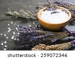 Bath Salt In Bamboo Bowl And...
