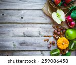 Fruits And Vegetables On Rustic ...