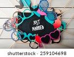 Stock photo wedding accessories set on wooden background 259104698