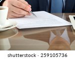 businessman is signing a... | Shutterstock . vector #259105736