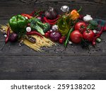italian food ingredients  pasta ... | Shutterstock . vector #259138202
