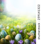 Easter Eggs On Meadow With...