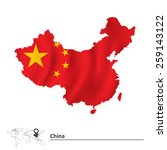 map of china with flag   vector ... | Shutterstock .eps vector #259143122