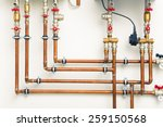 copper pipes in boiler room | Shutterstock . vector #259150568