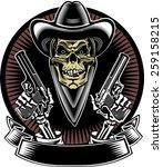 skull with guns   Shutterstock .eps vector #259158215