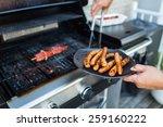 bbq with sausages and red meat...