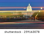 Stock photo washington dc us capitol building with car lights trails foreground at night 259163078