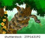 vector anaconda in amazon jungle | Shutterstock .eps vector #259163192