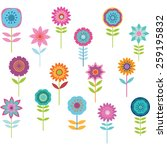 cute colorful flower | Shutterstock .eps vector #259195832