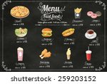 restaurant fast foods menu on... | Shutterstock .eps vector #259203152