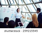 young female manager holding... | Shutterstock . vector #259215545