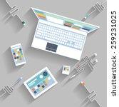 laptop  digital tablet ... | Shutterstock . vector #259231025