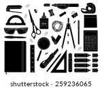 stationery tools  marker  paper ... | Shutterstock . vector #259236065