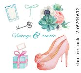 watercolor vintage and rustic... | Shutterstock .eps vector #259244612