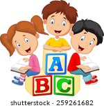 children reading book  | Shutterstock .eps vector #259261682