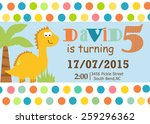 dino party invitation | Shutterstock .eps vector #259296362